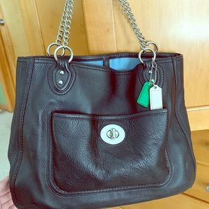 Coach leather tote, authentic with chain handle.